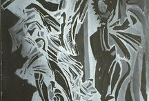 Angels / Paintings , drawings, etchings. Castel S.Angelo, statues of Bernini. Rome. 1995, By Kyriakos Theofanous.