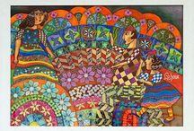 Aquarelles Annie Lehoux / Acrobates éléphants danseurs jardins
