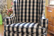Judy's Buffalo Check Slipcover / This buffalo check slipcover is a keeper no matter the season or trends. The black and natural pattern goes with everything! Fabric: Lyme by Roth & Thompkins.