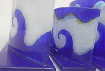 Greek Wave / Handmade fused glass candle holder. A. Only large, Length: 30,5 cm , Height: 15 cm ,Width: 9 cm.  B. Only small, Length: 18 cm , Height: 10,5 cm ,Width: 6,5 cm.  C. Double large, Length: 30,5 cm , Height: 15 cm ,Width:15 cm.  D. Double small, Length: 18 cm , Height: 10,5 cm ,Width: 12 cm.