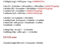 For recipes / Måttomvandlingar/measure units  - US/UK into EU and Vice Versa
