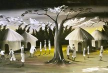 Opius Gallery | Fatiya Namugaya / Ugandan culture and a strong sense of community play a prominent feature in Fatiya's life and her artwork. She is also inspired by the beautiful landscapes and wildlife that surround her local village.
