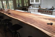 Live Edge Bar Tops / Using Live Edges to soften spaces in the Kitchen
