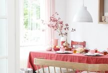 Coral accents in  interiors