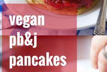 vegan Pancake Recipes / Vegan Pancake Recipes | fluffy | fruit topped | sweet | easy | apple | pumpkin | cinnamon | banana