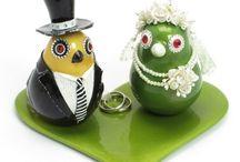 Love Bird Wedddig Cake Topper B / by madamepOmm BYK