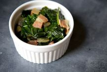 Collard Greens (Winter & Spring) / Move over, kale; the collard greens are coming. Collards are a staple in many Southern dishes and add healthy nutrients to any meal. Traditionally, collards are paired with ham hocks and other pork for flavor and richness, but we have plenty of delicious vegetarian options.   In Season: The peak season for collard greens is January through April.