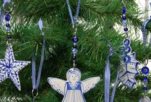 Christmas / handmade and hand painted ceramic decorations