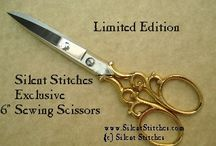 """Silent Stitches Signature Scissors / Looking for the perfect gift? How about our exclusive 6"""" Sewing Scissors? Gorgeous gold-plated scrolled bows hand-crafted from vintage forgings. Limited edition. (Visit www.SilentStitches.com for more details.)"""