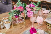 WEDDING CENTERPIECES / Assortment of wedding ideas for centerpieces, florals, candles, table numbers, textiles.