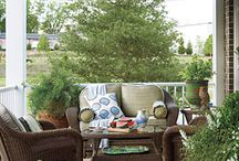 Porches by Season in a Trunk / Sip some sweet tea and swing away #outdoortrunk #outdoorliving