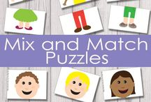Mix and match puzzles. Printables.