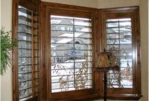 Window shutters, blinds and curtains