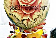 My works / Private party, a corporate event, a wedding reception, or a gala, I can create the uniquely exquisite fruit carving art pieces that suits your style, your event's theme, or your dream!