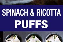 Finger food / Yummy and a great easy way to change up the spinach and ricotta pie.