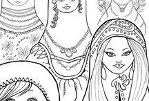 Adult Coloring Pages / Coloring books, coloring pages, colouring for adults, grown-up coloring,  coloring sheet, printable, print and color, digital stamps for scrapbooking. Get a FREE Indian girl and a tribal pattern coloring page: http://eepurl.com/bGoXFb