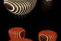 стол с пуфами светящиеся