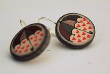 Wooden painted earrings, hair clip... / Wooden painted earrings, hair clip