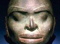 amérique pré-colombienne, sculptures têtes et visages