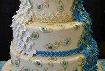 White & Teal Peacock Wedding Cake