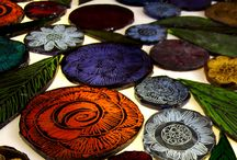 Painted glass tiles