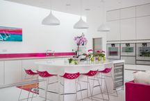 A Touch of Colour / This client came to us with a desire to create an open kitchen-living space that would serve as a hot spot for family living in their new- build home. At the time they were living in a dorma bungalow on the land but architects were involved in designing a new contemporary home on the same plot. The kitchen needed to be clean and contemporary but not sterile. It needed to maximise light since the house is built on a steep slope and the kitchen area is effectively underground.
