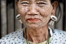 Old people with face tattoos