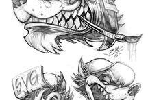 dibujos lobos