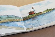 Nature Sketching / Pen & Ink with watercolor sketches of landscapes
