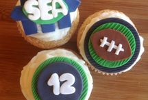 Seahawks at the Superbowl- Football Party / A mix of Blue and Green Cupcake and Party supplies to root on the Seahawks for the Superbowl Game. Perfect for your football and cupcake loving guests.