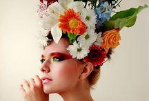 Focení květiny a ženy.