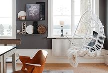 Living room inspiration / White, grey, turquoise and wood
