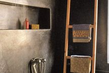 Tadelakt Concrete BetonCiré Bathroom / Badkamers afgewerkt met tadelakt betonlook betoncire glanspleister etc. Bathroom finished with tadelakt concrete gloss plaster