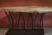 Organic Contemporary Furniture Pieces / We fabricate custom copper and steel tables, wood cocktail tables and custom sofa or console tables.