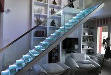 Escalier en verre avec éclairage  LED
