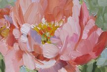 Abstract realist flower paintings