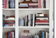 {Design - Bookshelf Styling + Art Galleries} / eclectic living designs