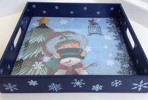 Bandejas pintadas para o natal