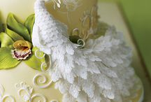 Yellow Peacock Wedding Cake