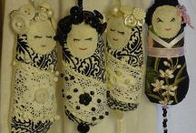 Matryoshka Kokeshi Dotee dolls / Links to patterns & lovely doll pictures for inspiration