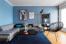 Trivlig tv-stue og spsiestue blåtttoner