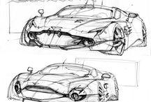 Car, machines, Robot sketches