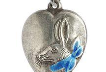 Bunny Rabbits - Vintage Charms & Bracelets / Vintage Silver and enamel bracelet charms. Bunnies, Bunny Rabbits, hares, rabbit charms.