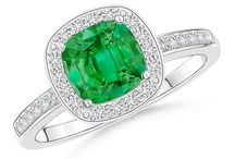 Pave Halo Cushion Emerald Ring