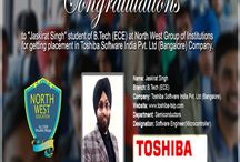 """Congratulations to """"Jaskirat Singh"""" / student of B.Tech (ECE) at North West Group of Institutions for getting placement in Toshiba Software India Pvt. Ltd (Bangalore) Company."""