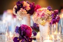 Purple decorations/centrepieces/set up