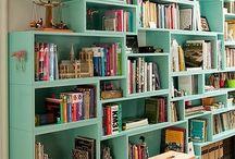 Bookshelves design and bookreading corner