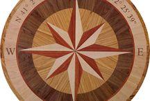 "Julie compass rose floor medallion inlay / Hardwood floor inlay, 38"" diameter, 3/4"" thick"