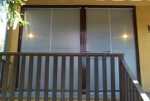 Tenda veranda invernale ermetica con frangivento e tessuto VINITEX retinato antingiallimento