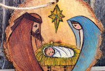 nacimiento pintado en piedras